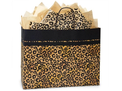 Pack Of 250, Vogue 16 x 6 x 12.5'' Leopard Safari Recycled Kraft Paper Shopping Bag Made In Usa by Generic