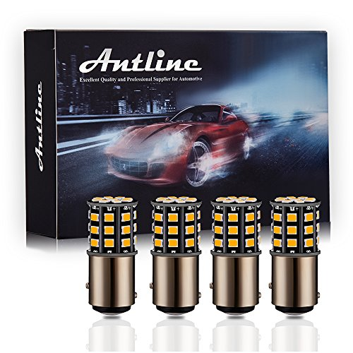 Antline 1157 2057 2357 7528 BAY15D LED Bulbs Amber Yellow, 12-24V Super Bright 1000 Lumens Replacement for Turn Signal Blinker Lights, Side Marker Lights (Pack of 4)