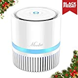 Mooka Air Purifier with True HEPA Filter, Portable Air Cleaner for Rooms and Offices, Odor Cleaner with 3 Stage Filtration System, Night Light, 2 Fan Speeds (Air Purifier-White)