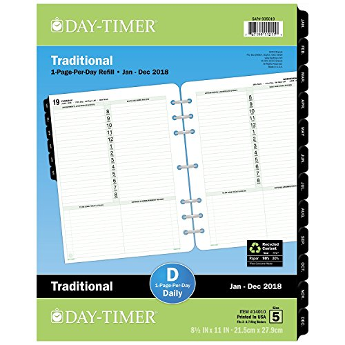 "Day-Timer Refill 2018, One Page Per Day, January 2018 - December 2018, 8-1/2"" x 11"", Loose Leaf, Folio Size, Classic (14010-1801)"