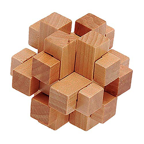 1 Set 3D Wooden KongMing Lock Set Brain Teaser Puzzles Classical Luban Jigsaw Cube Game for Kids and Adults (Tic-tac-Toe Block)