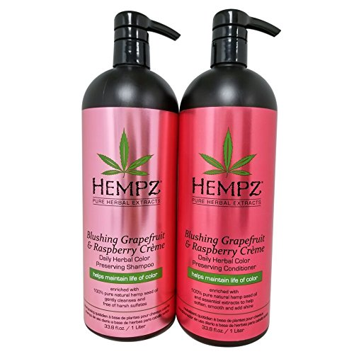 Hempz Pure Herbal Extracts Blushing Grapefruit & Raspberry Creme Herbal Shampoo & Conditioner 33.8oz to Protect Hair Color Bundle by Hempz