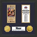 1 Pc, St. Louis Rams Super Bowl Ticket Collection Plaque, 12 x 15 Wood Frame, A Solid Bronze Super Bowl Champions Commemorative Coin & A Solid Bronze NFL Coin, Certificate Of Authenticity