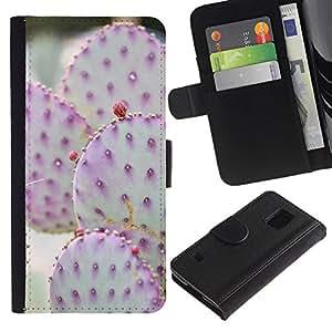 Be Good Phone Accessory // Caso del tirón Billetera de Cuero Titular de la tarjeta Carcasa Funda de Protección para Samsung Galaxy S5 V SM-G900 // Pink Green Blossoming Desert