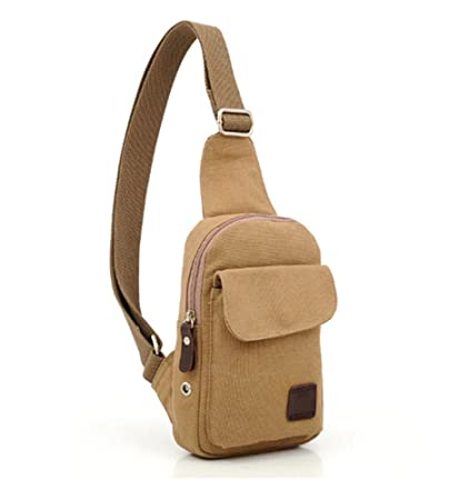 ff7c5e4ce1be Kalevel Outdoor Sports Bag Casual Canvas Backpack Crossbody Sling Bag  Single Shoulder Bag Messenger Bag for Men (Khaki)  Amazon.in  Sports