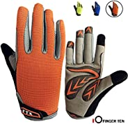 Cycling Gloves Kids Boys Girls Youth Full Finger Pair Bike Riding, Children Toddler Touch Screen Mountain Road
