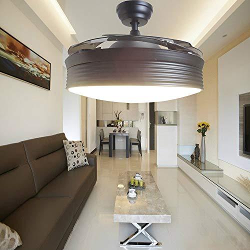 Reverse Fan Light 42 Inch Black Modern Retractable Ceiling Fan Light Indoor LED Chandelier Fan 3 Color Light,6-Gear Speed LED Lighting Remote for Living Dining Room Bedroom