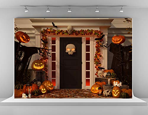 Kate 10x6.5ft Halloween Decorated House Door Backdrop Grimace Pumpkin Backdrops Holiday Celebration Party Decoration Background Cotton Microfiber Photo Studio Props