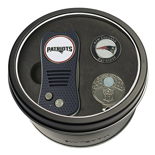 Team Golf NFL New England Patriots Gift Set Switchblade Divot Tool, Cap Clip, & 2 Double-Sided Enamel Ball Markers, Patented Design, Less Damage to Greens, Switchblade Mechanism
