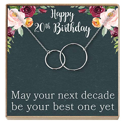 20th Birthday Gift Necklace: Birthday Gift, Two Decades, Jewelry Gift for Her, 2 Interlocking Circles (Silver-Plated-Brass, NA)