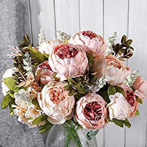 GSD2FF Artificial Flowers Wedding Vintage European Peony Wreath Silk Heads Home Festival Decoration 13 Branches Home 30