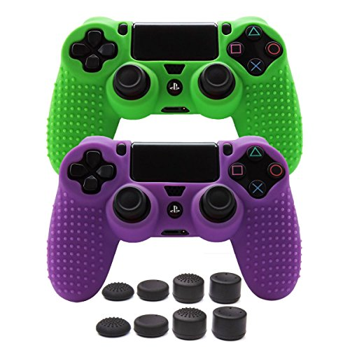 Pandaren STUDDED Anti-slip Silicone Cover Skin Set for PS4 /SLIM /PRO controller(controller skin x 2 + FPS PRO Thumb Grips x 8)(Green, Purple) (Skin Set Case Silicone)