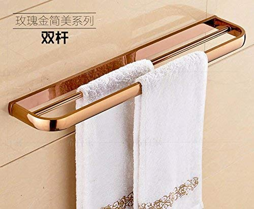 Double Towel Bars Towel Rack Brass Bathroom Accessories Set, pink gold Square Robe Hook, Paper Holder, Towel Bar, Soap Basket, Towel Rack Bathroom Hardware Set, Double Tumbler Holde Bathroom Towel Shelf