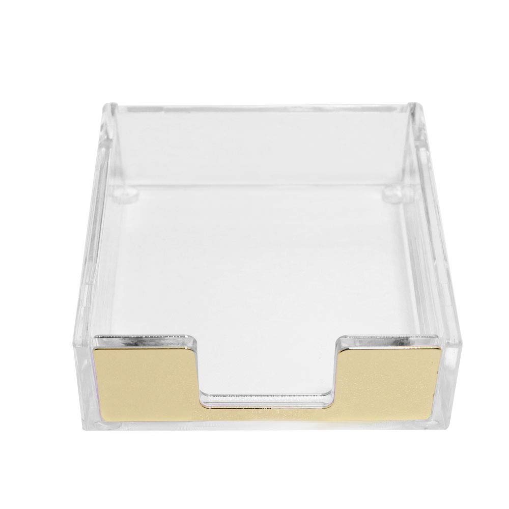 Buqoo Acrylic Sticky Notes Pad Holder Desktop Organizer 3.5x3.3 Inch Memo Holder for Office Home Desk Supplies(Gold) by Buqoo