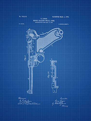 Framable Patent Art Original Ready to Frame Décor Luger Gun German WW2 Pistol 8in by 10in Patent Art Poster Print Blueprint PAPXSSP1B from Framable Patent Art