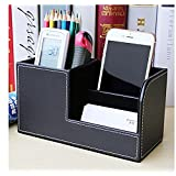 Yaekoo 3 Slot PU Leather Desk Remote Controller Holder Organizer; Home Sundries Storage Box; TV Guide/Mail/CD Organizer/Caddy/Holder with Free Cable Organizer (Black)