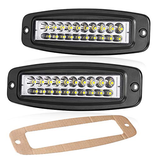 Flush Mount LED Pods, OFFROADTOWN 2Pcs 7'' 80W Off Road Driving lights Spot LED Work Light Flush LED Light Bar Super Bright Fog Lights for Truck Jeep Boat 4x4 Boat Grill Mount, 3 Years Warranty