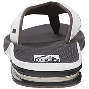 Reef Fanning Mens Sandals Bottle Opener Flip Flops for Men,Grey/White,8 M US