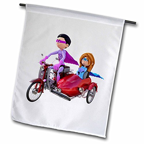 Duos Superhero (Boehm Graphics Cartoon - A Cartoon Superhero Duo Riding a Scooter with a Sidecar - 12 x 18 inch Garden Flag)