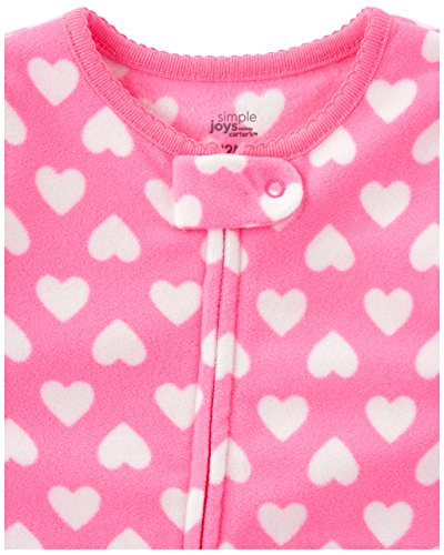 Simple Joys by Carter's 3-Pack Loose Fit Flame Resistant Fleece Footed Pajamas Bimba 0-24, Pacco da 3 2