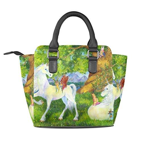 Leather TIZORAX Shoulder Bags Women's Unicorn Handbags Tote Butterfly Fairy q4rwU4I