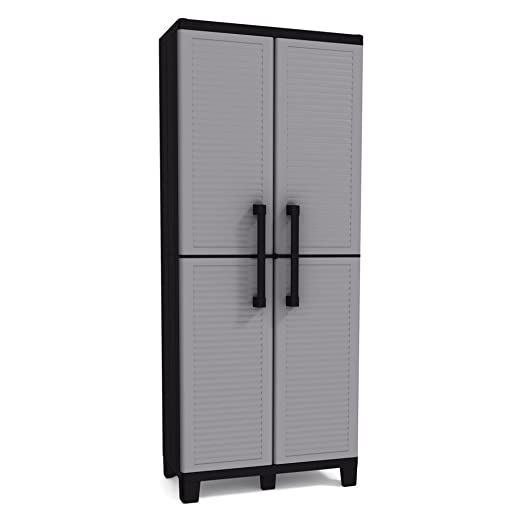 Keter Space Winner Tall Metro Storage Utility Cabinet Indoor / Outdoor Garage or Home Storage with Adjustable Shelves