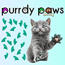 40-pack Seafoam Glitter Soft Nail Caps for Cat Claws Purrdy Paws (Medium)