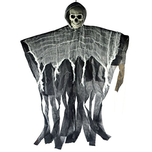 NUOBESTY Hanging Grim Reaper Animated Flying Ghoul Ghost Halloween Skull Hanging Ornament for Halloween Party Supplies -