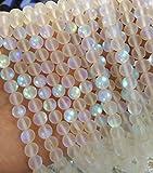 2strands 6mm AB Mystic Aura Quartz Gemstone Titanium Clear white matte Rainbow Round Loose Beads crystal necklace