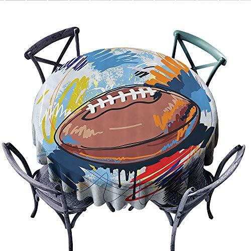 Sports Decor Washable Tablecloth Diamond Shape Rugby Ball Sketch with Colorful Doodles Passing Professional Equipment League Table Cover for Kitchen (Round, 50 Inch, Multi)