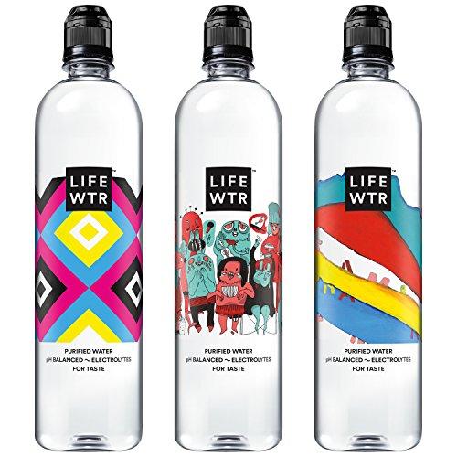 : LIFEWTR, Premium Purified Water, pH Balanced with Electrolytes For Taste, 700 mL flip cap bottles (Pack of 12) (Packaging May Vary)