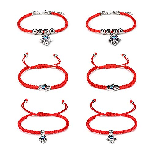 (Byson 6 PC Lucky Hamsa Red String Line Kabbalah Bracelets Braided String Cord and Rotating Evil Eye Hamsa for Protection Bracelet - Jewish Amulet Pendant Jewelry for Success and Lucky Bracelet Banglet)