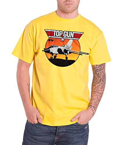Sunset Yellow T-shirt - Top Gun T Shirt Sunset Fighter Official Mens Yellow