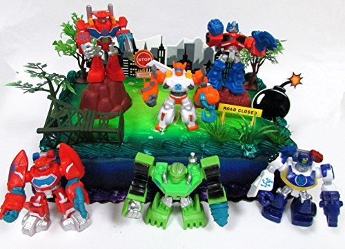 Transformers 16 Piece Birthday Cake Topper Set Featuring Optimus Prime and Friends with Decorative Themed Accessories ()