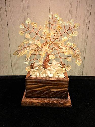 Citrine Wire Gemstone Bonsai Tree of Life,Crystal Beaded Tree,Handmade Healing Feng Shui Gemstone Tree,Wire Tree Sculpture ()
