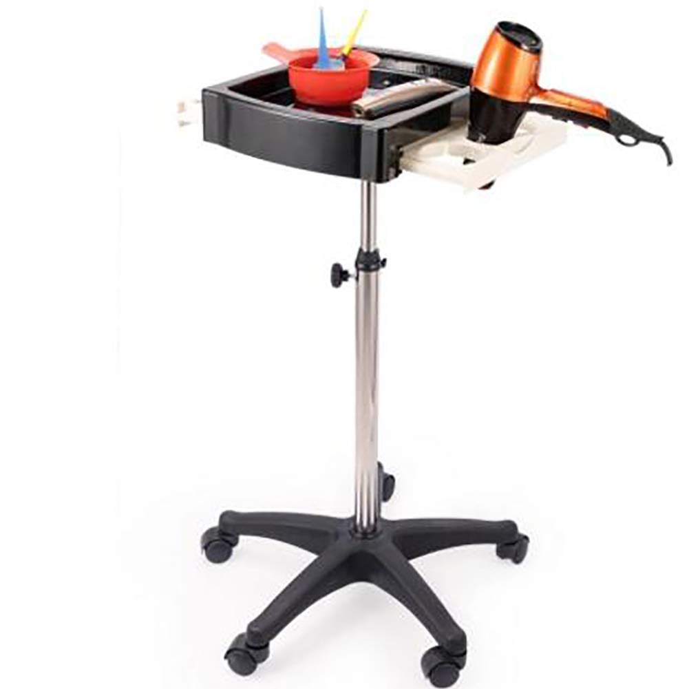 XHH Professional Salon Hairdressing Cart with 5 Mobile Wheels Hair Color Perm Tray Service Cart with Hair Dryer Holder