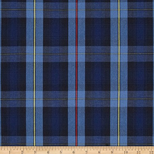 Poly/Cotton Uniform Plaid Black/Blue/Yellow Fabric By The Yard (Blue Yellow Fabric)