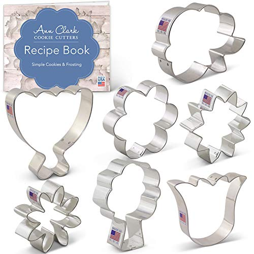 Flower Bouquet Cookie Cutter Set with Recipe Booklet - 7 piece - LilaLoa's Rose, Sunflower, Tulip, Flower and Daisy, Tree, Bouquet - Ann Clark - USA Made Steel
