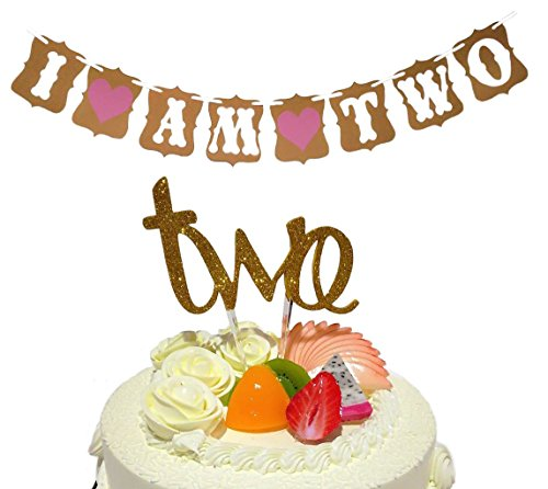 Baby Girl 2nd Birthday Decoration- Cake Topper -two & I Am Two- Banner For Sweet Heart Birthday Celebration