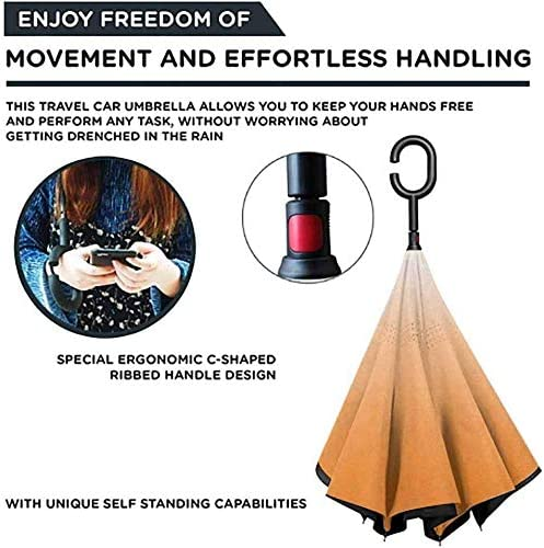 Hollywood Glam Show Inspired Color Ombre Double Layer Inverted Reverse Windproof Folding Umbrellas for Car Outdoor with C-Shaped Handle 42.5x31.5Inch