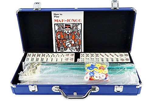 American Mahjong Mah jong 166 Tiles Set w/ Racks Brief Case 4 Color Pushers/Racks Western Mahjongg Blue by Mstechcorp