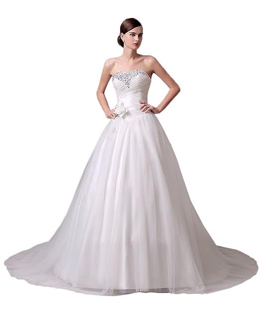 Missdressy Prinzess Tuell Herz-Ausschnitt Hochzeitskleider Brautkleider  Pailletten Schleppe: Amazon.de: Bekleidung