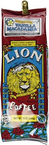 Hawaii Lion Coffee Vanilla Macadamia, Ground, Light Roast, 10 Oz. Bag with Bag Clip Smooth & Nutty (Best Month To Visit Kauai)