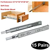 15 Pairs Soft Close Rear/Under Mount Drawer Slides Glides DHH32-22 inch Full Extension 3-Folds Ball Bearing;100-pound Capacity