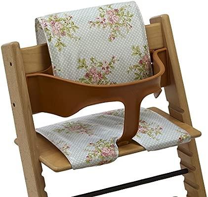 Cojines Messy Me de hule para trona, limpiables, para tronas de estilo Tripp Trapp y BabyDan. Floral vintage