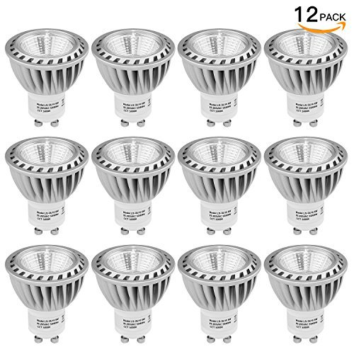 SHINE HAI GU10 Led Light bulbs 50W Equivalent, 100% Aluminum Reflector 5000K Daylight White, 40 Degree Beam Angle, CRI>85, Non-Dimmable, Pack of 12 by SHINE HAI