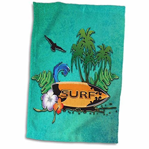 3D Rose Tropical Design with Surfboard-Palm Trees and Flowers Hand Towel 15