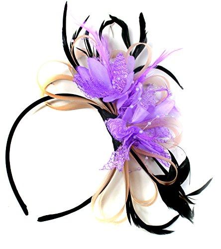 Saumon Nude Rose lilas et mauve Net CREOLE PLUME pour Cheveux Serre Tete mariage Royal Ascot courses