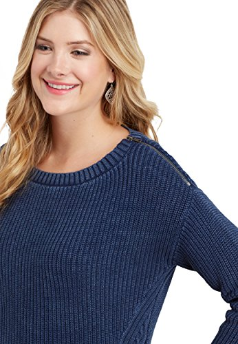 maurices Women's Thick Knit Asymmetrical Pullover Sweater With Zipper Shoulder Large Washed Denim