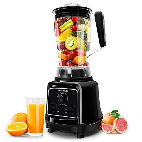 Commercial Blender AIMORES for Smoothie, Manual / Variable Speed / Pulse Control (28,000 RPMs), 75oz Big Tritan Pitcher, 8 Stainless Steel Blades, with Tamper & Recipe Book, ETL/FDA Approved